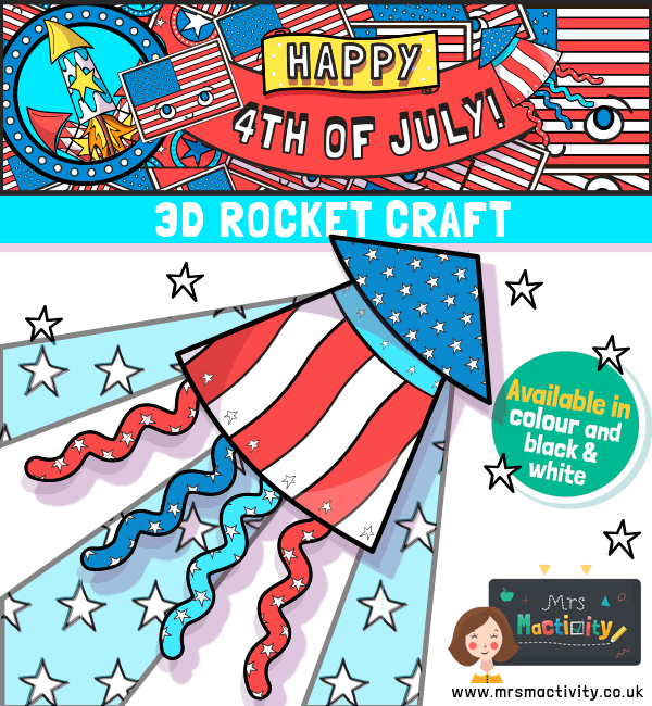 4th July Rocket Craft Template