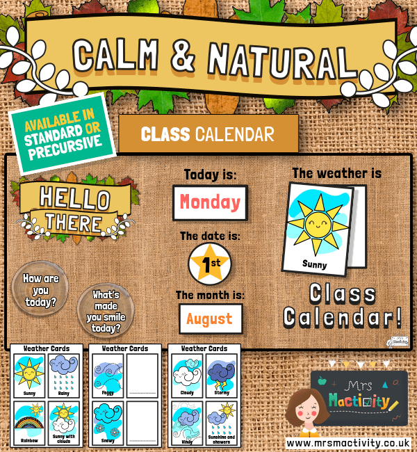 Calm and Natural Class Calendar Display Pack