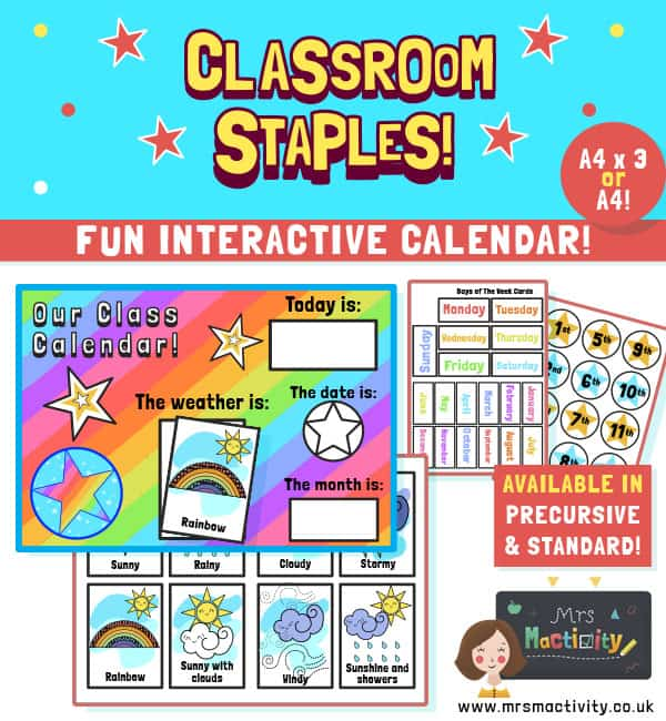 Rainbow class calendar and weather chart