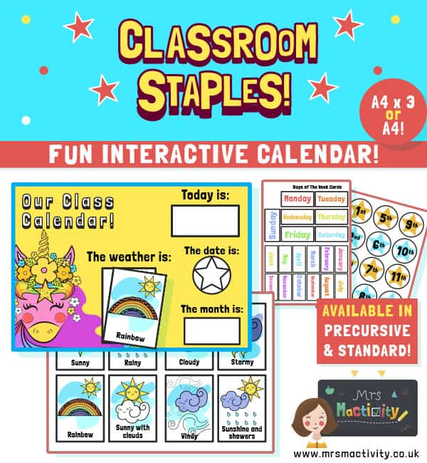Unicorn Class Calendar and Weather Chart