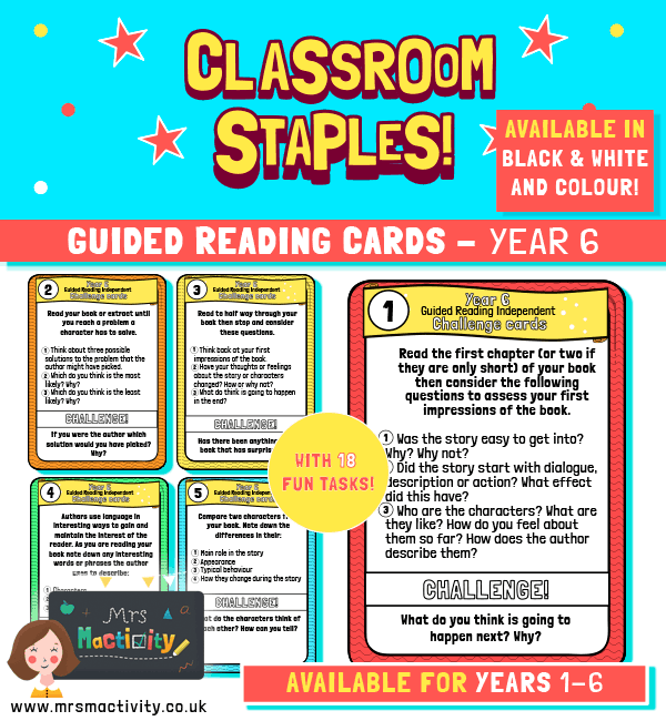 Year 6 Guided Reading Challenge Task Cards