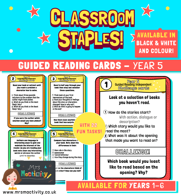 Year 5 Guided Reading Challenge Task Cards