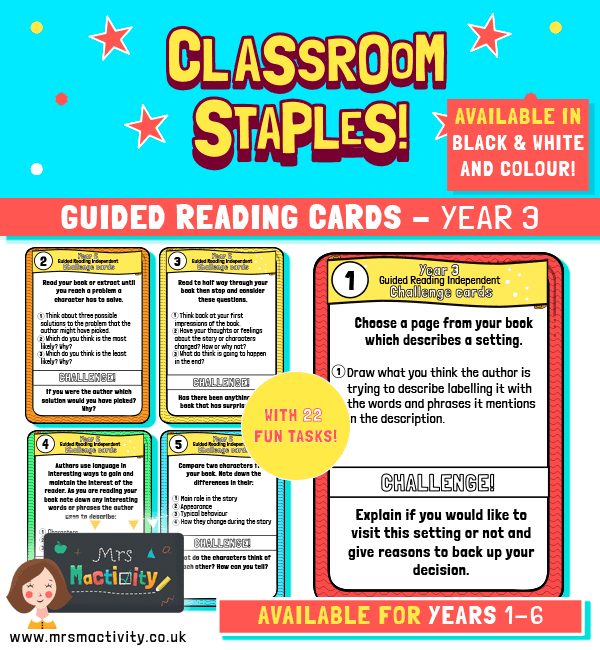 Year 3 Guided Reading Challenge Task Cards