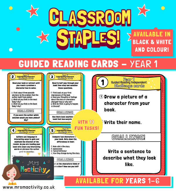 Year 1 Guided Reading Challenge Task Cards
