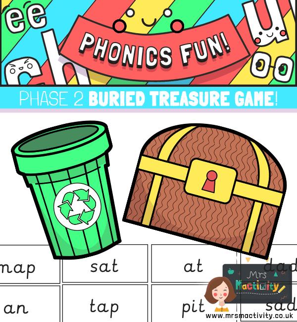Phase 2 Phonics Buried Treasure Game