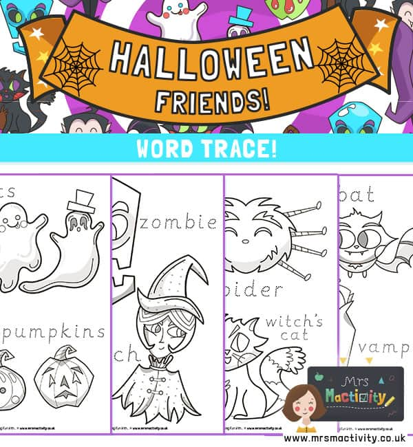 halloween colouring and word trace
