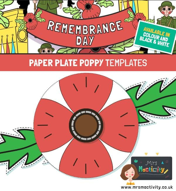Remembrance Day Paper Plate Poppy Template