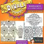 Diwali mindfulness Rangoli Pattern Colouring Pages