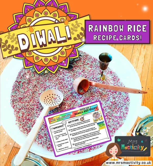 Diwali Rainbow Rice Recipe Cards