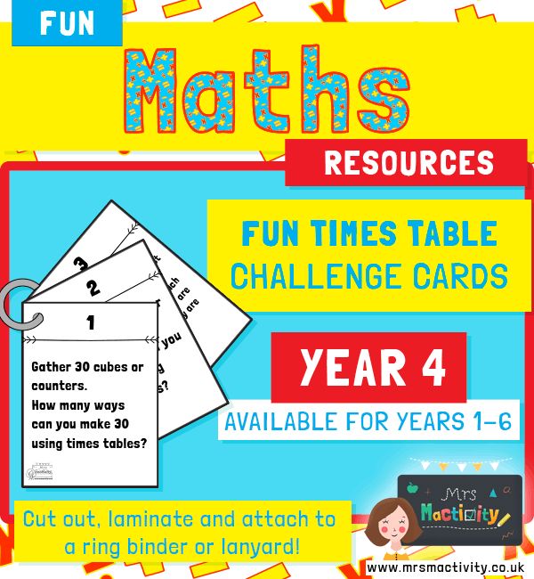 Year 4 Times Table Challenge Cards