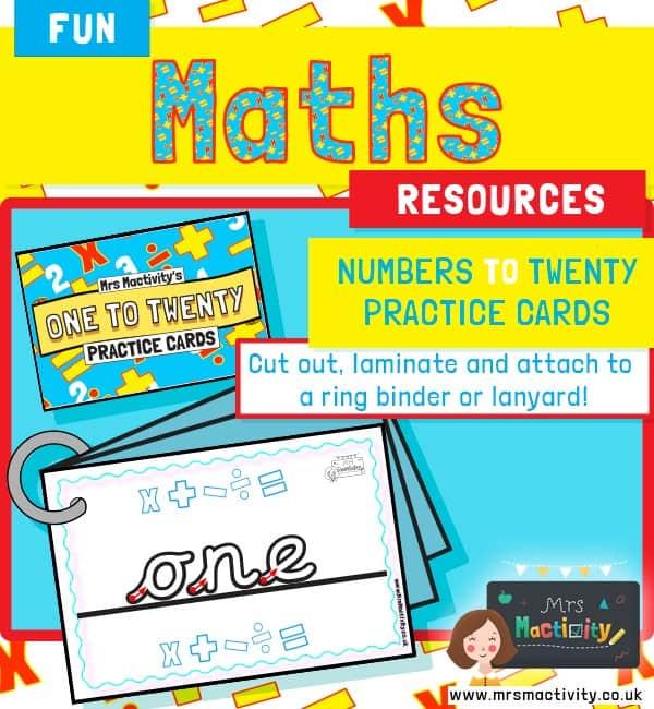 Number word cards handwriting worksheet
