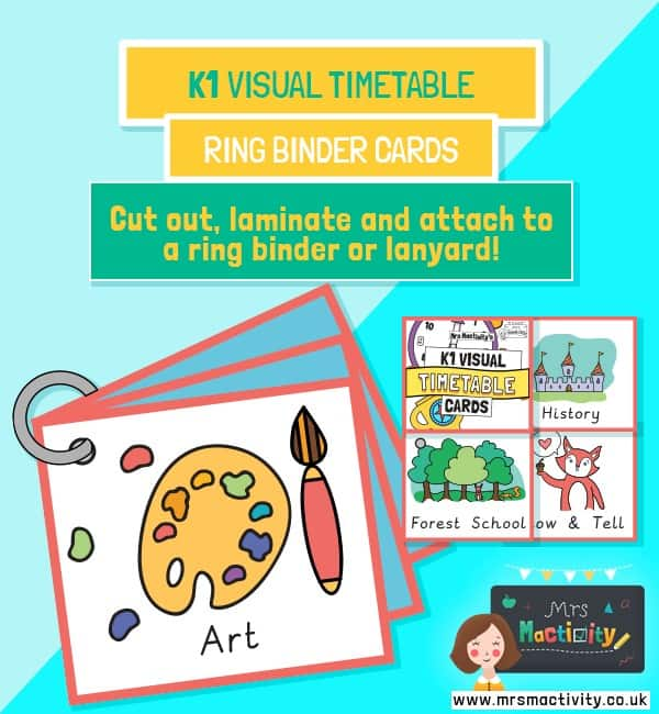 KS1 visual timetable lanyard cards