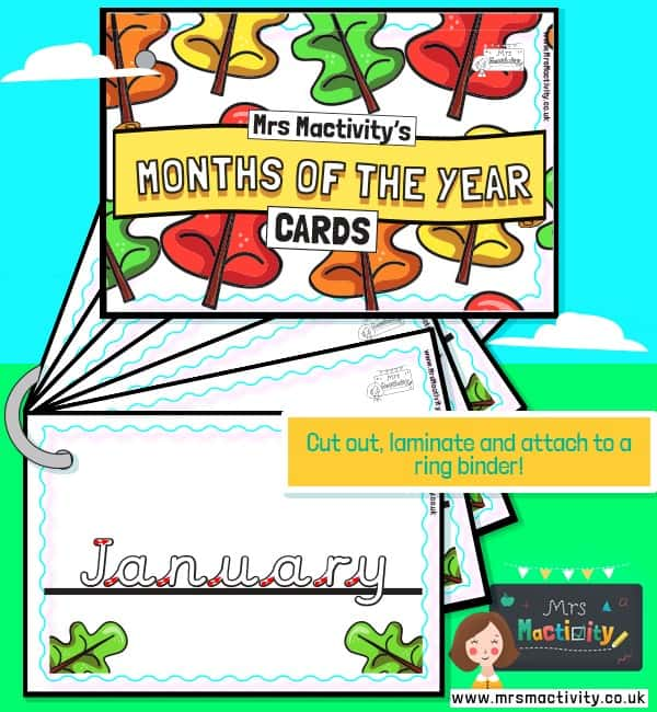 Months of the Year Handwriting Practice Cards