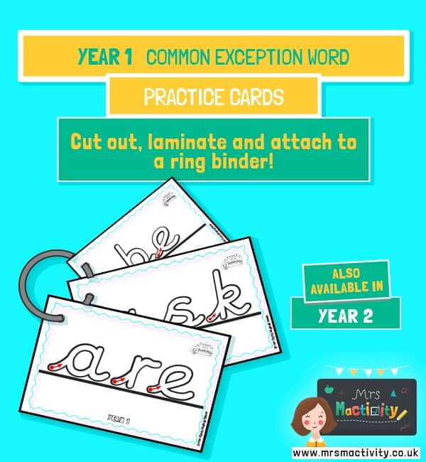 Year 1 common exception word handwriting practice cards