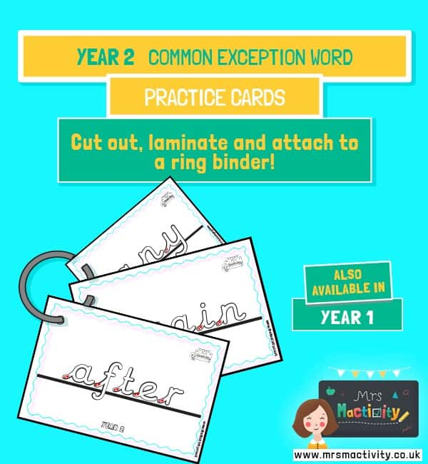Year 2 Common Exception Words Handwriting Practice Cards