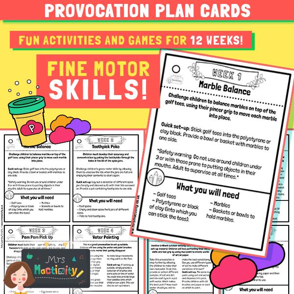Fine motor skills provocation plans