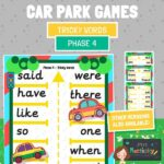 Phase 4 tricky words car park game