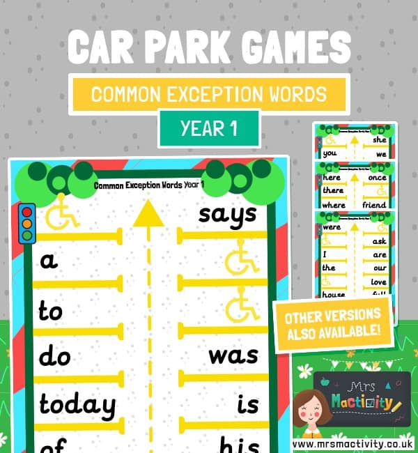 year 1 common exception words car park game