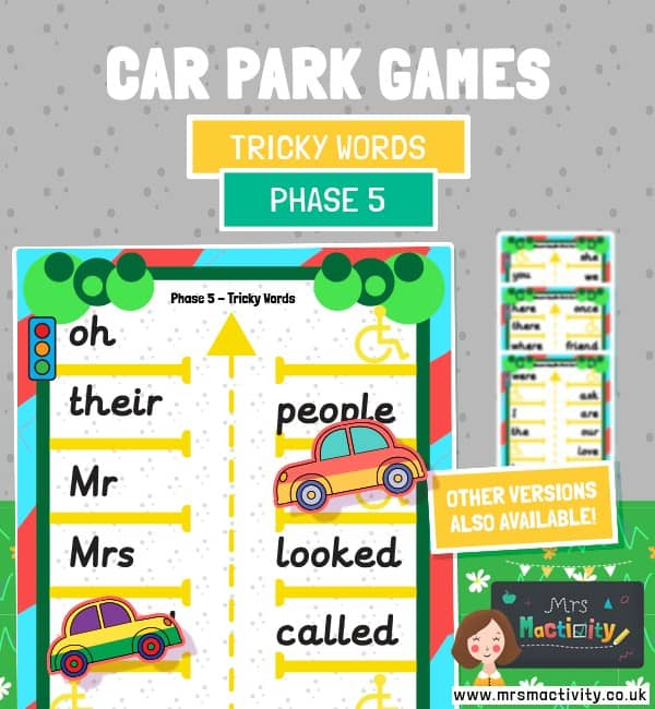 Phase 5 tricky words car park