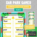 common exception word year 2 car park game