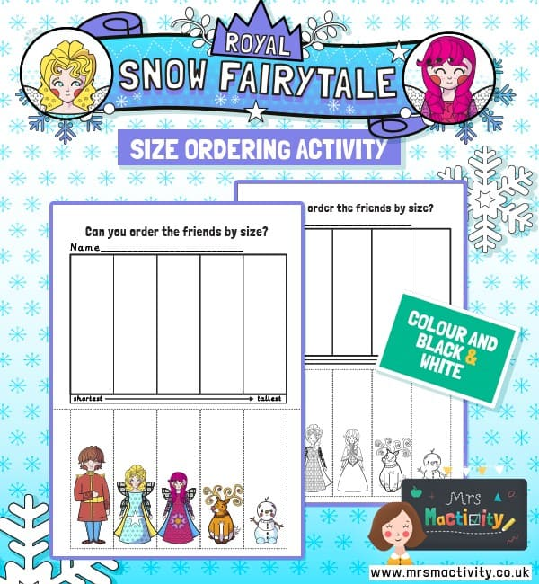 Royal snow size ordering activity