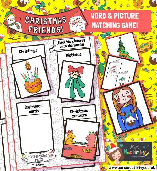 Christmas traditions matching game