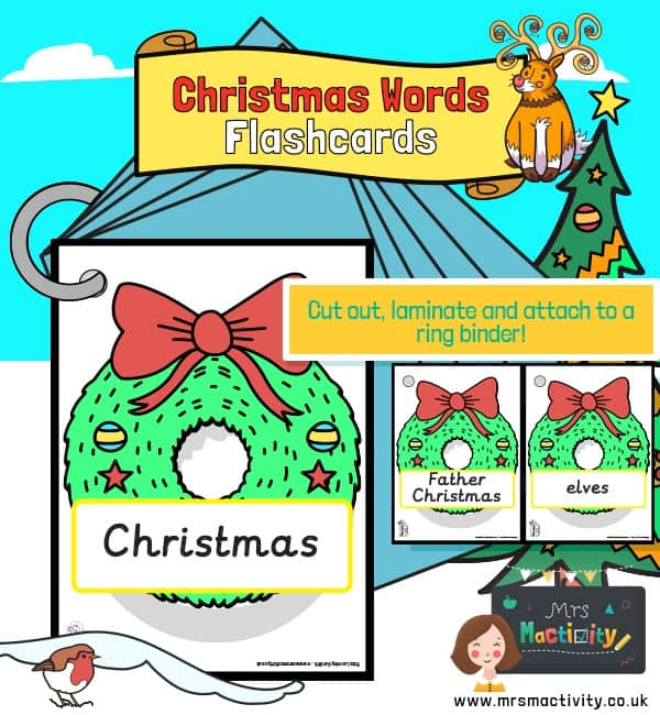 Christmas words on wreaths