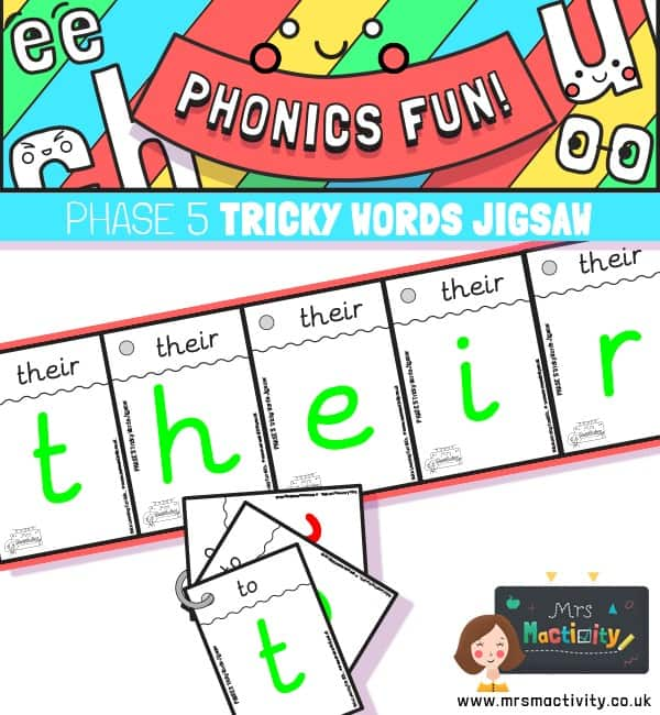 Phase 5 tricky words jigsaw cards