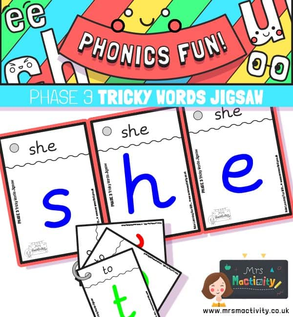 Phase 3 Tricky Word Jigsaw Cards