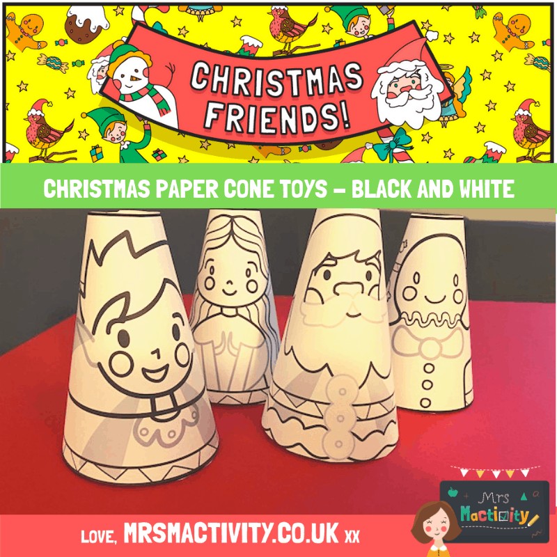 Christmas paper cones black and white