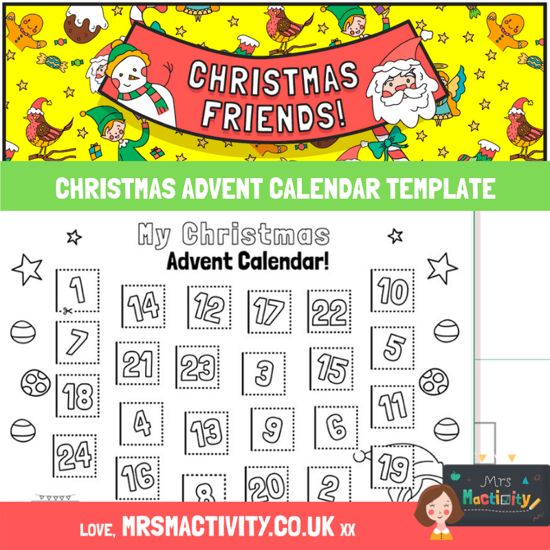 CHRISTMAS advent calendar template