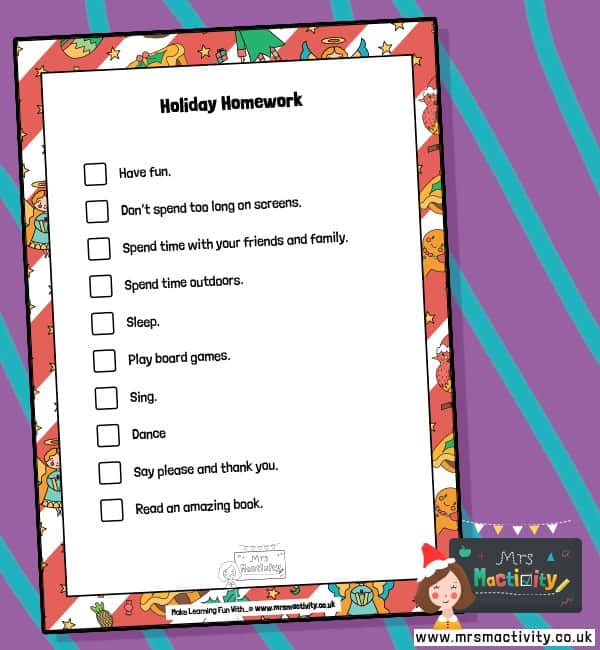 Holiday Homework Sheet