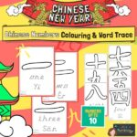 CNY Chinese Number Characters Colouring Word trace