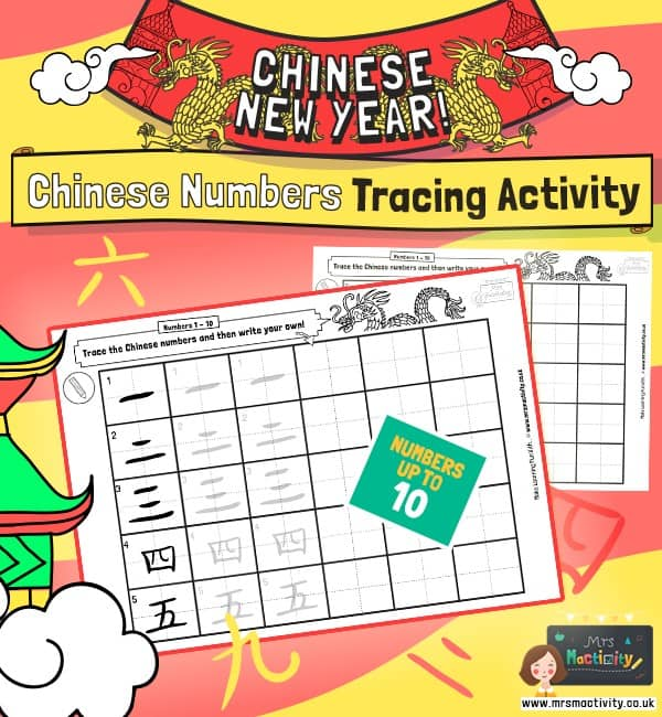 Chinese numbers tracing activity