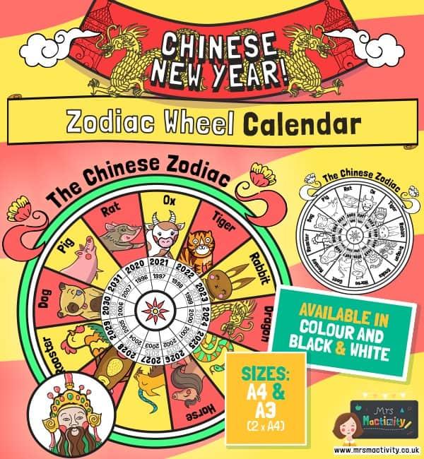 Chinese New Year Zodiac Wheel Calendar