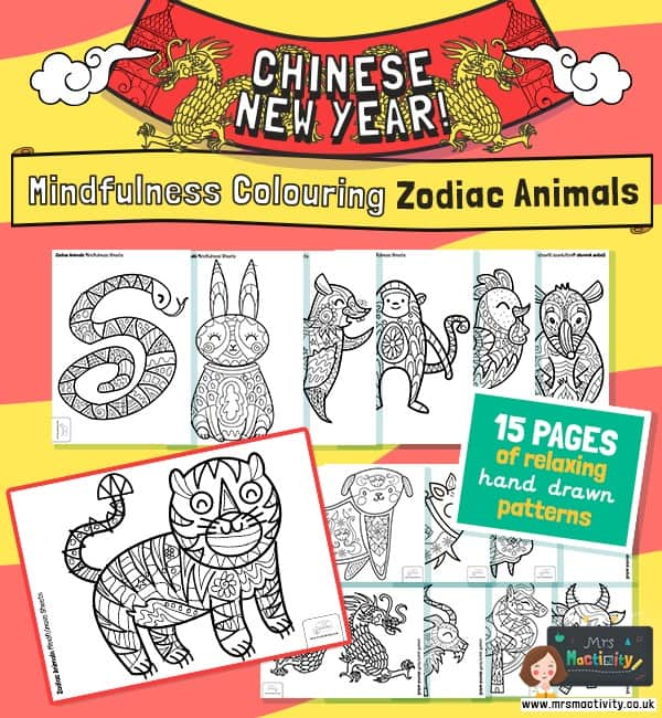 Chinese new year mindfulness colouring pages