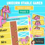 Phase 5 tricky words unicorn game