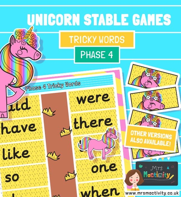 phase 4 tricky words unicorn game