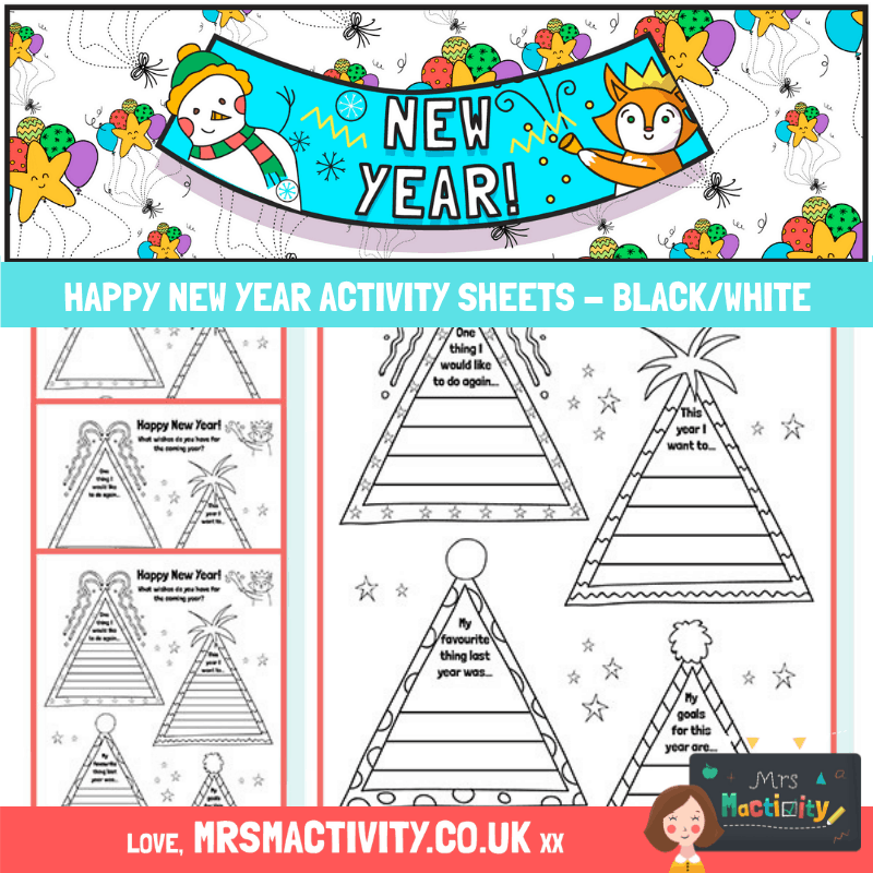 Happy New year Activity sheet black and white