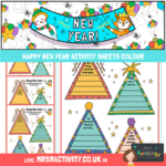 Happy New year Activity sheet colour