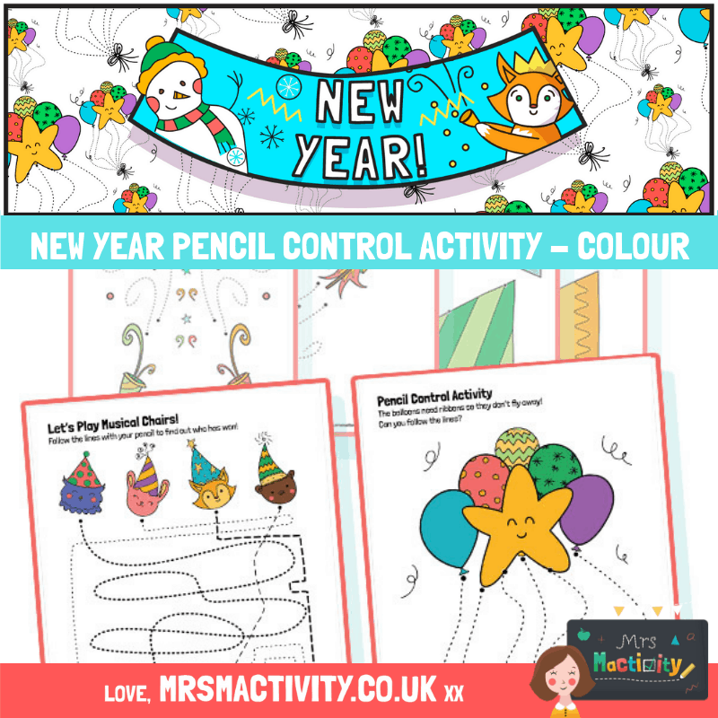 New Year Pencil Control Activity