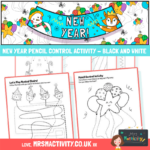 New Year Pencil control activity black and white