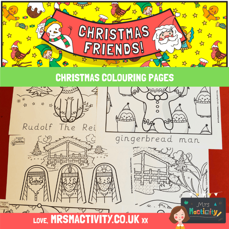 Christmas Colouring Pages With Word Trace Mrs Mactivity