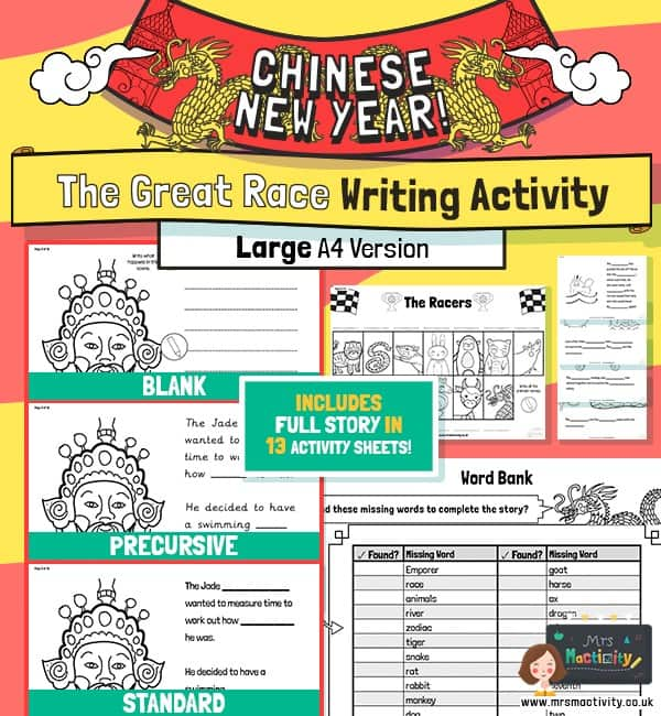 Chinese new year story of the zodiac writing activity