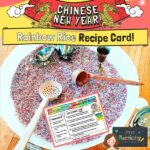 Chinese New Year rainbow tuff spot tray rice recipe card