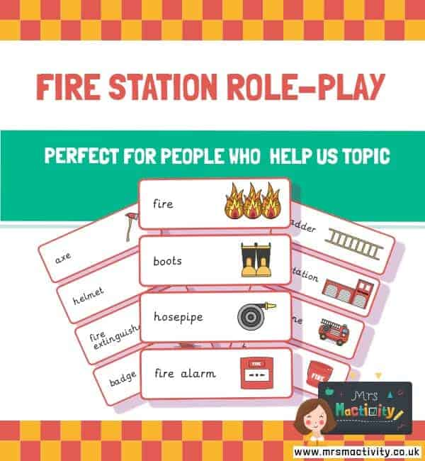 Fire station word cards people who help us