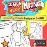 Action Hero Man Colouring Page Activity