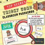 Tricky Words Classroom Passwords Phase 3