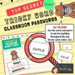 Tricky Words Classroom Passwords Phase 4