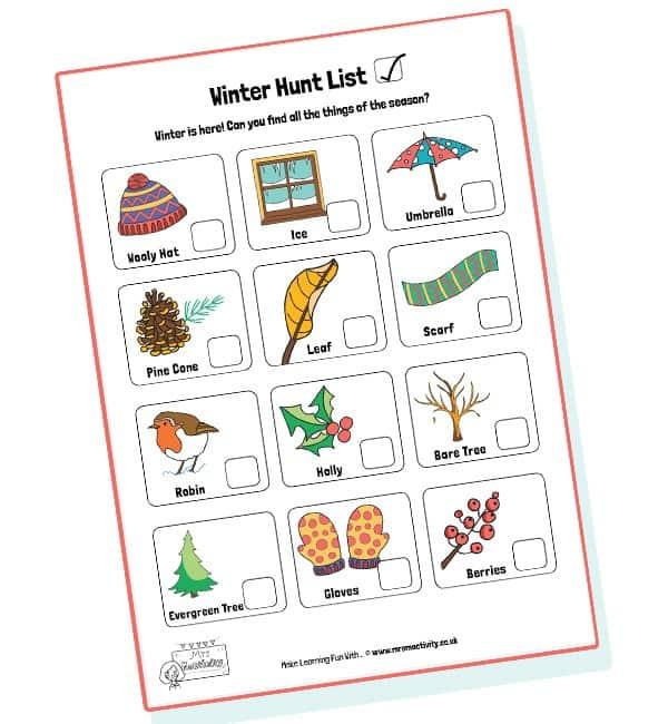 Winter Hunt Checklist - Colour